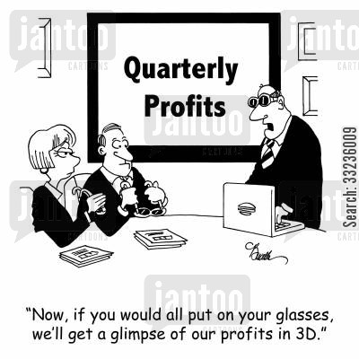 presenting cartoon humor: 'Now, if you would all put on your glasses, we'll get a glimpse of our profits in 3D.'