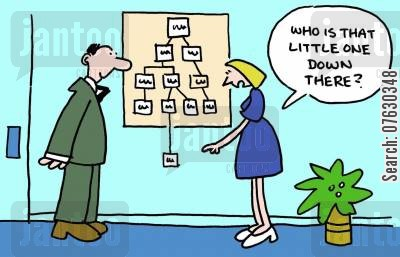 management structures cartoon humor: Who is that little one down there?