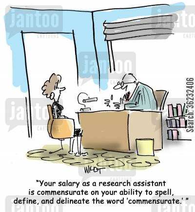 reserchers cartoon humor: Your salary as a research assistant is commensurate on your ability of spell, define, and delineate the work 'commensurate.'