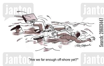 off-shore cartoon humor: 'Are we far enough off shore yet?'