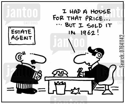 salesman cartoon humor: 'I had a house for that price. But I sold it in 1962.'
