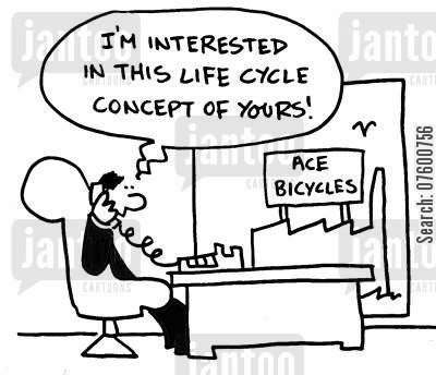 immortals cartoon humor: 'I'm interested in this life cycle concept of yours!'