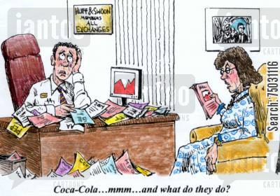 recommend cartoon humor: 'Coca-Cola...mmm..and what do they do?'