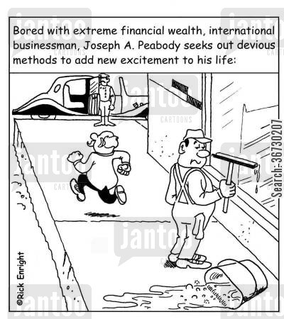 excitement cartoon humor: Wealthy businessman seeks out devious methods to add new excitement to his life