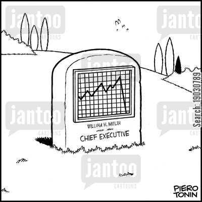 business chart cartoon humor: Executive's tombstone.