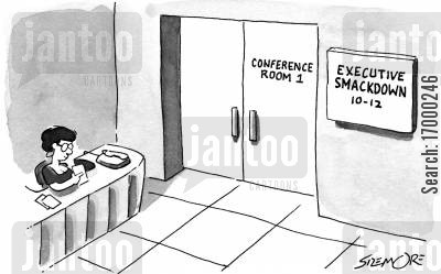 executive conference cartoon humor: Executive Smackdown.