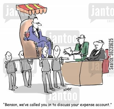 luxury lifestyle cartoon humor: Benson, we've called you in to discuss your expense account.