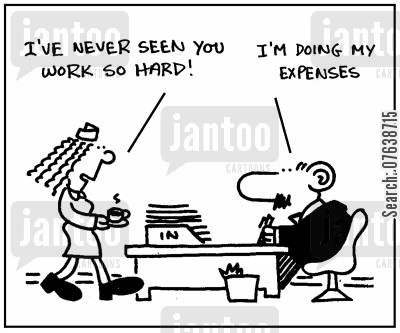 accountancy department cartoon humor: 'I've never seen you work so hard.' - 'I'm doing my expenses.'