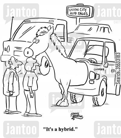 car engineers cartoon humor: 'It's a hybrid.'
