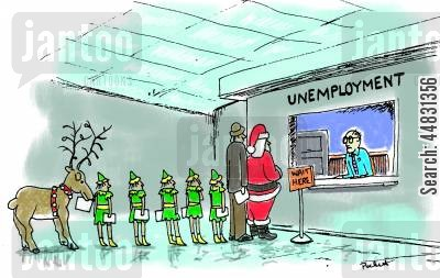 job seekers cartoon humor: Santa and his elves are in unemployment line.