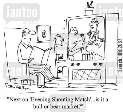 shouting match cartoon humor: Next on 'Evening Shouting Match'...is it a bull or a bear market?