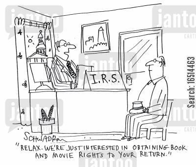 book rights cartoon humor: 'Relax. We're just interested in obtaining book and movie rights to your return.'