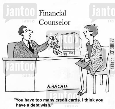 debt counseling cartoon humor: You have too many credit cards. I think you have a debt wish.