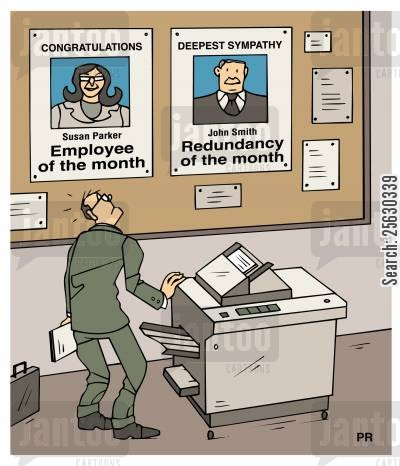 employee of the month cartoon humor: Employee of the monthRedundancy of the month.