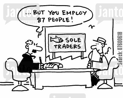 double meanings cartoon humor: Sole traders