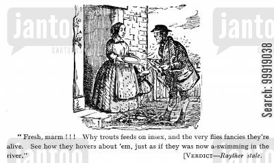 victorian salesman cartoon humor: Fresh deliveries.