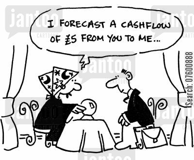 future prognosis cartoon humor: 'I forecast a cashflow of