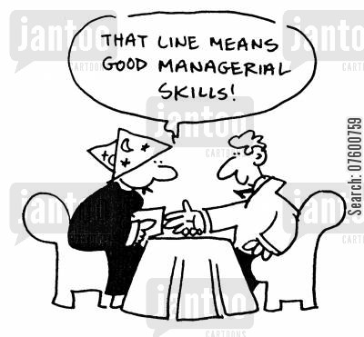 palm reading cartoon humor: 'That line means good managerial skills!'