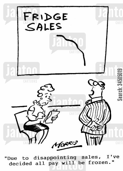frozen pay cartoon humor: Fridge Sales - Due to disappointing sales, I've decided all pay will be frozen.