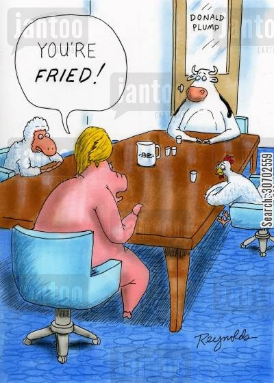 fry up cartoon humor: 'You're fried!'
