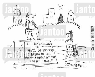success story cartoon humor: 90 of success is being in the right funds at the right time.