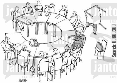 round table cartoon humor: Businessman moving part of a round table.