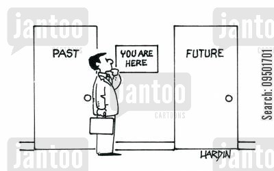 looking backwards cartoon humor: PastFuture.