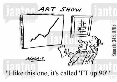 rise and fall cartoon humor: Art Show - I like this one, it's called 'FT up 90'.