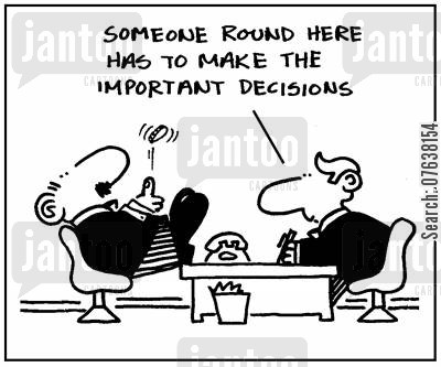 coin flippers cartoon humor: 'Someone round here has to make the important decisions.'