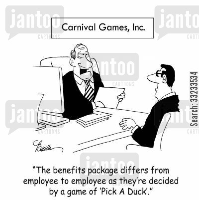 benefits packages cartoon humor: 'The benefits package differs from employee to employee as they're decided by a game of 'Pick A Duck'.'
