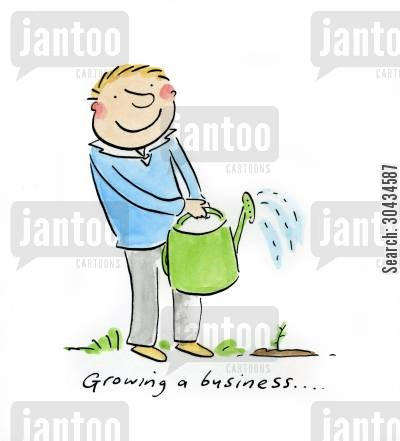growing business cartoon humor: Growing a business....