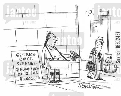 get-rich-quick scheme cartoon humor: Man selling get-rich-quick schemes for $10,000 each.