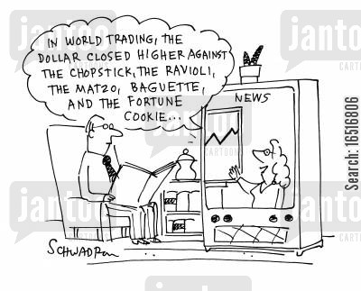 credit crunches cartoon humor: 'In world trading, the dollar closed higher than. . .'