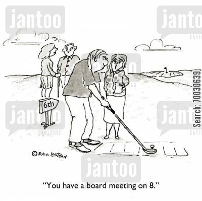 business and pleasure cartoon humor: 'You have a board meeting on 8.'