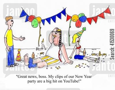 office party cartoon humor: 'Great news, boss. My clips of our New Year party are a big hit on YouTube!'