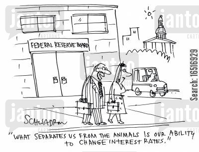 civil service cartoon humor: 'What separates us from the animals is our ability to change interest rates.'