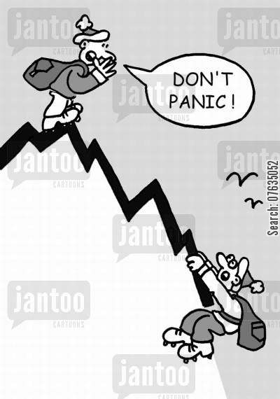 sales chart cartoon humor: Don't panic!