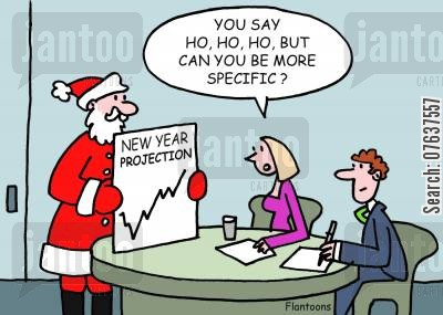 business forecast cartoon humor: 'Ho,ho,ho, but can you be more specific?'