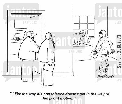 motivations cartoon humor: 'I like the way his conscience doesn't get in the way of his profit motive.'