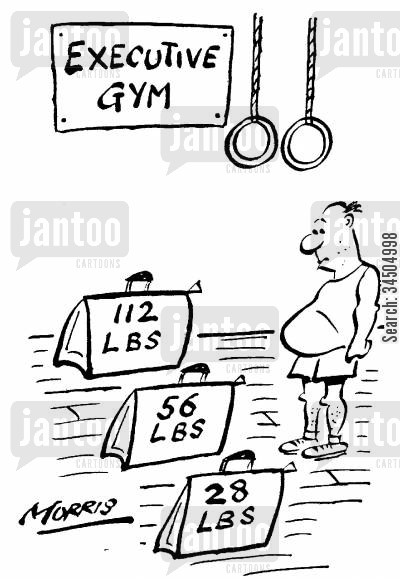 gymnasiums cartoon humor: Executive gym with briefcases for weights.