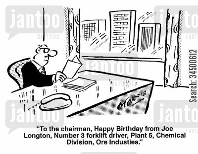 chairman cartoon humor: Chairman recieves birthday card from minor employee