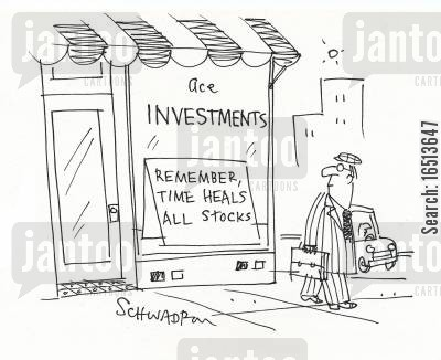 stocks and bonds cartoon humor: Remember, time heals all stocks.