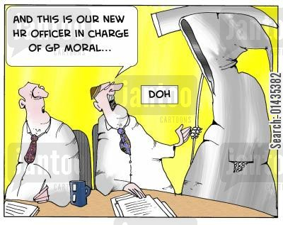 morales cartoon humor: 'And this is our new HR officer in charge of GP moral..'