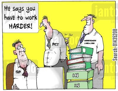 efficiency experts cartoon humor: 'He says you have to work harder.'