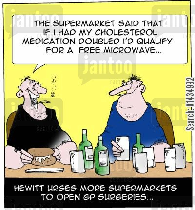 privatisation cartoon humor: Hewitt urges mor supermarkets to open surgeries.