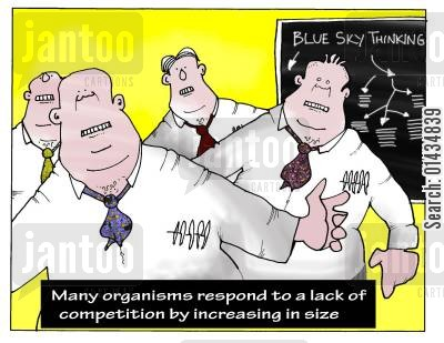 budget cut cartoon humor: Many Organisms Respond to a Lack of Competition by Increasing in Size.