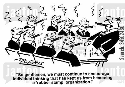 herd mentality cartoon humor: We must continue to encourage individual thinking that has kept us from becoming a 'rubber stamp' organisation.