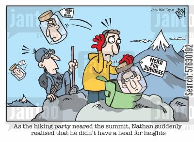 backpack cartoon humor: As the hiking party neared the summit, Nathan suddenly realised that he didn't have a head for heights'