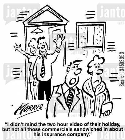 holiday video cartoon humor: I didn't mind the two hour video of their holiday, but not all those commercials sandwiched in about his insurance company.