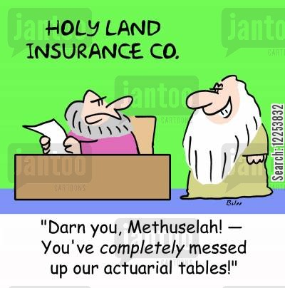 holy lands cartoon humor: HOLY LAND INSURANCE CO. , 'Darn you, Methuselah! -- You've completely